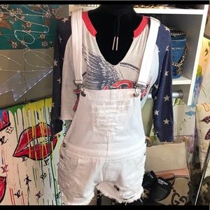 Pants - Threasa distresses white short overalls